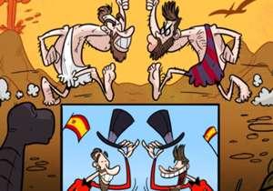 Sergio Ramos dan Gerard Pique kerap bertemu dalam pertandingan panas bertajuk El Clasico antara Real Madrid dan Barcelona. Tetapi, saat jeda internasional, keduanya siap berdamai untuk membela satu warna, La Furia Roja.