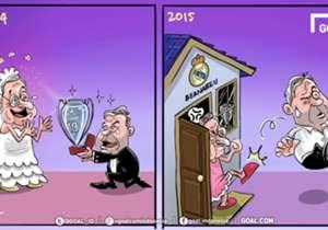 Bulan madu sudah berakhir. Carlo Ancelotti yang telah mempersembahkan empat gelar dalam kurun waktu 11 bulan terakhir harus melepas kedudukan sebagai pelatih Real Madrid setelah gagal menyamai torehan musim lalu. Florentino Perez telah melakukan pertem...