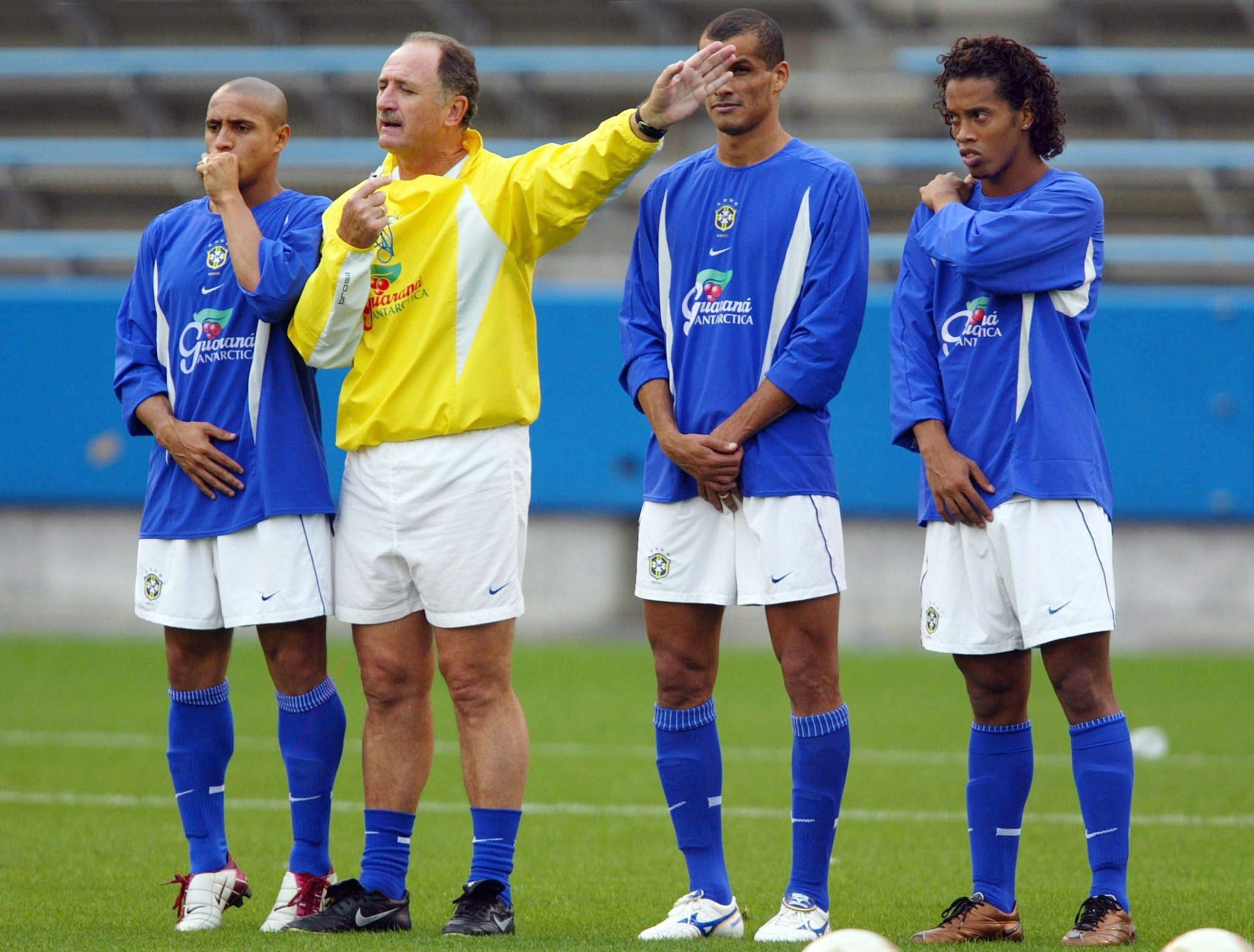 Roberto Carlos, Scolari,Rivaldo and Ronaldinho
