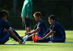 笑顔を見せる中島。「日本の勝利に貢献したい」と話した