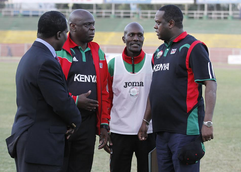 Harambee Stars TM Willis Waliaula with CEO Michael Esakwa and CS Hassan Wario
