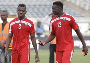 A dissapointed Kenyan captain Victor Wanyama with Aboud Omar at the final whistle