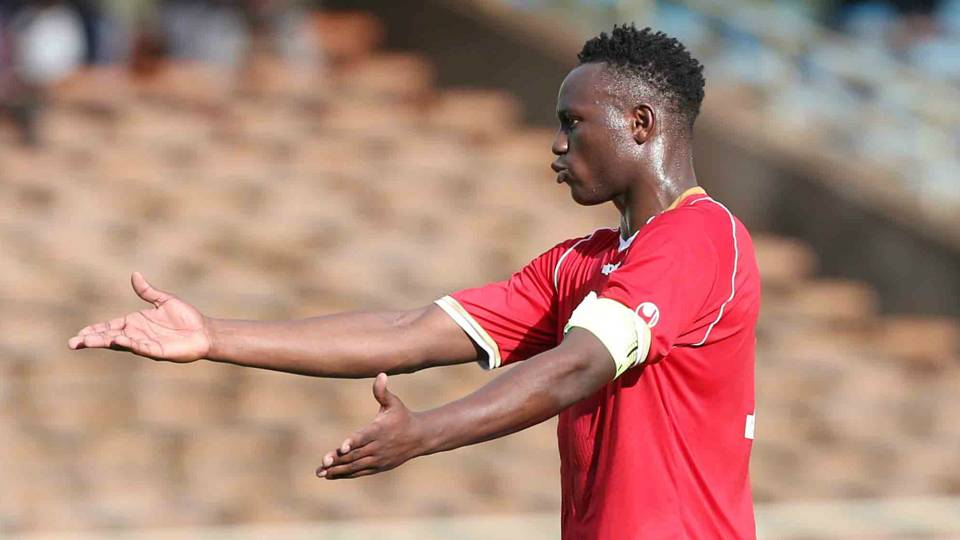 Harambee Stars captain Victor Wanyama reacts to a foul during the tense friendly at Kasarani