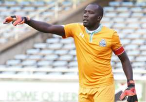 Gor Mahia goalie Jerim Onyango react against Palos FC.