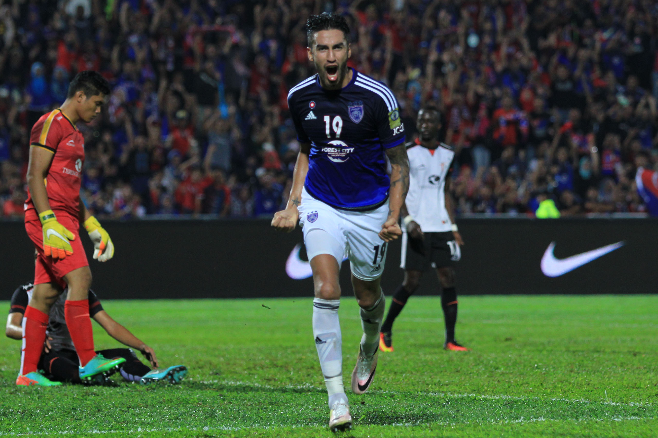 Martin Lucero after scoring his hattrick goal for Johor Darul Ta'zim