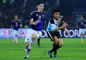 Johor Darul Ta'zim's Jorge Pereyra Diaz (left) in his team's match against T-Team