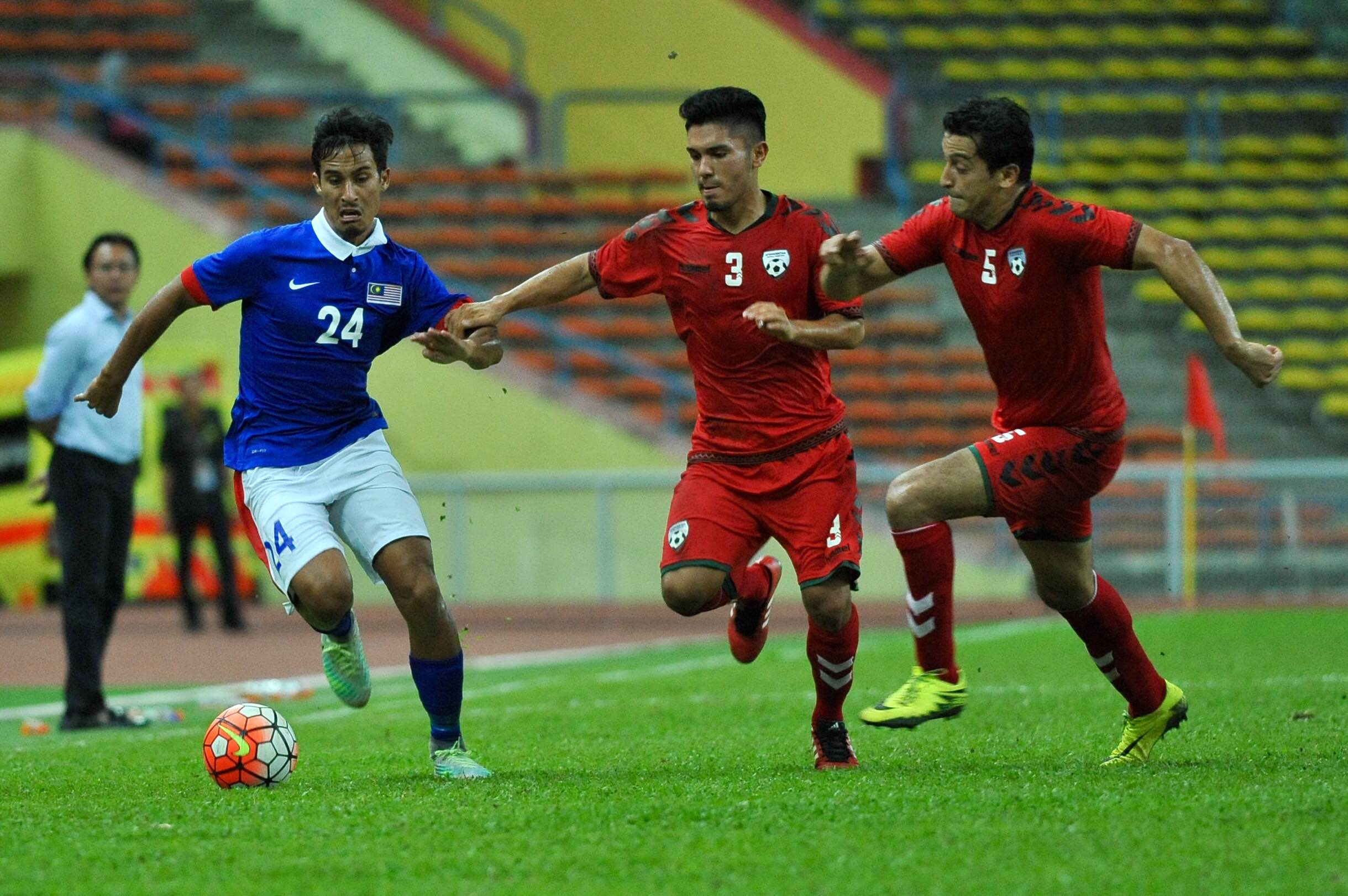 Malaysia's Matthew Davies in action against Afghanistan 11/10/16