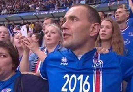 Presidente islandés, como un fan más