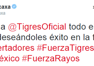 Con un mensaje, Necaxa le desea éxitos a Tigres y a México
