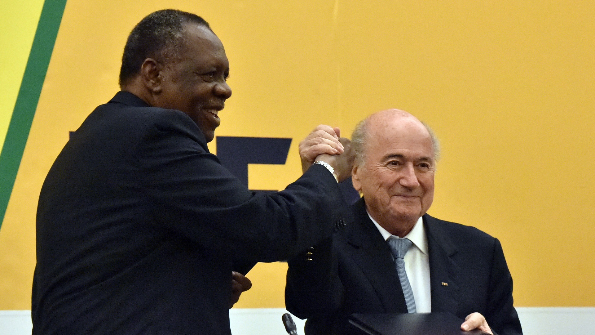 sepp blater and issa hayatou goal