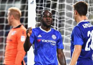 Victor Moses and Cesar Azpilicueta of Chelsea
