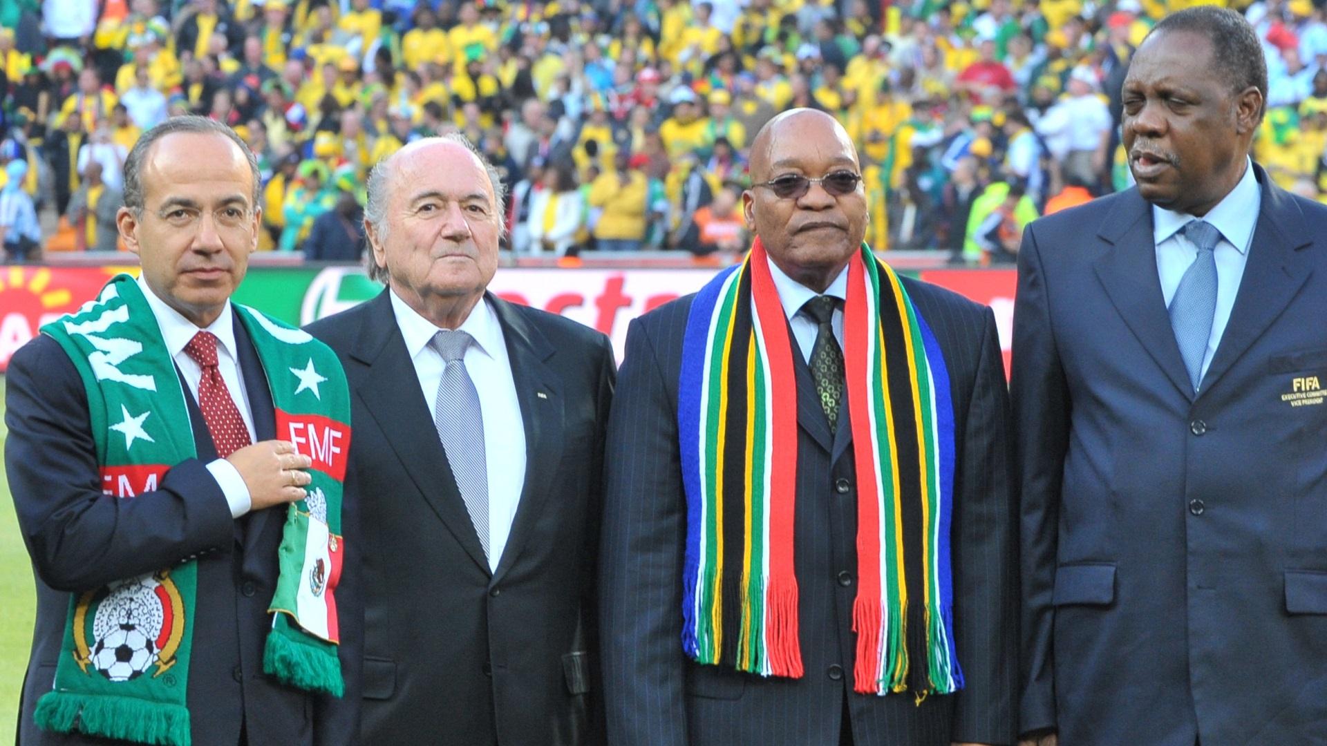 Mexican President Felipe Calderon, FIFA President Sepp Blatter, South Africa's President Jacob Zuma and CAF President Issa Hayatou