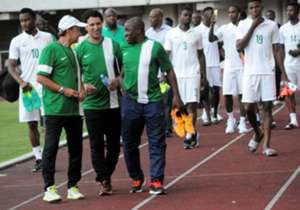 The new Super Eagles takes his first training session with John Obi Mikel and co inside Godswill Akpabio Stadium on Tuesday evening