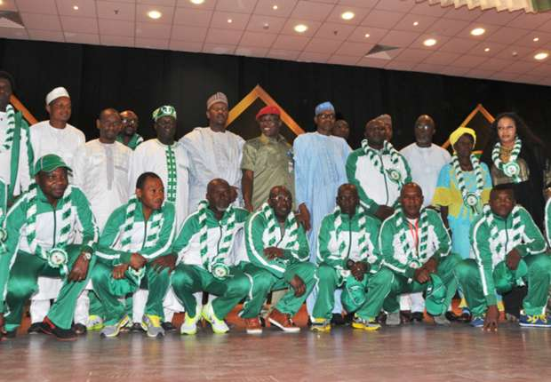 President Buhari with the 1985 Golden Eaglets