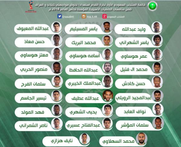 الشرق: 26 لاعباً في قائمة الأخضر لمواجهتي تايلاند والعراق