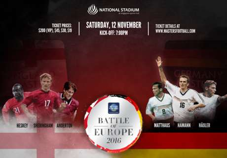 Masters Football Asia: England vs Germany confirmed