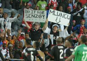 """Orlando Pirates fans rallied behind their boys way before kick-off, and the message was loud and clear as the team entered the pitch: """"Do it for Senzo Meyiwa"""""""