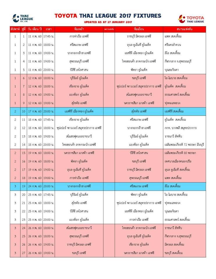 โปรแกรมไทยลีก 2017 เดือนกุมภาพันธ์