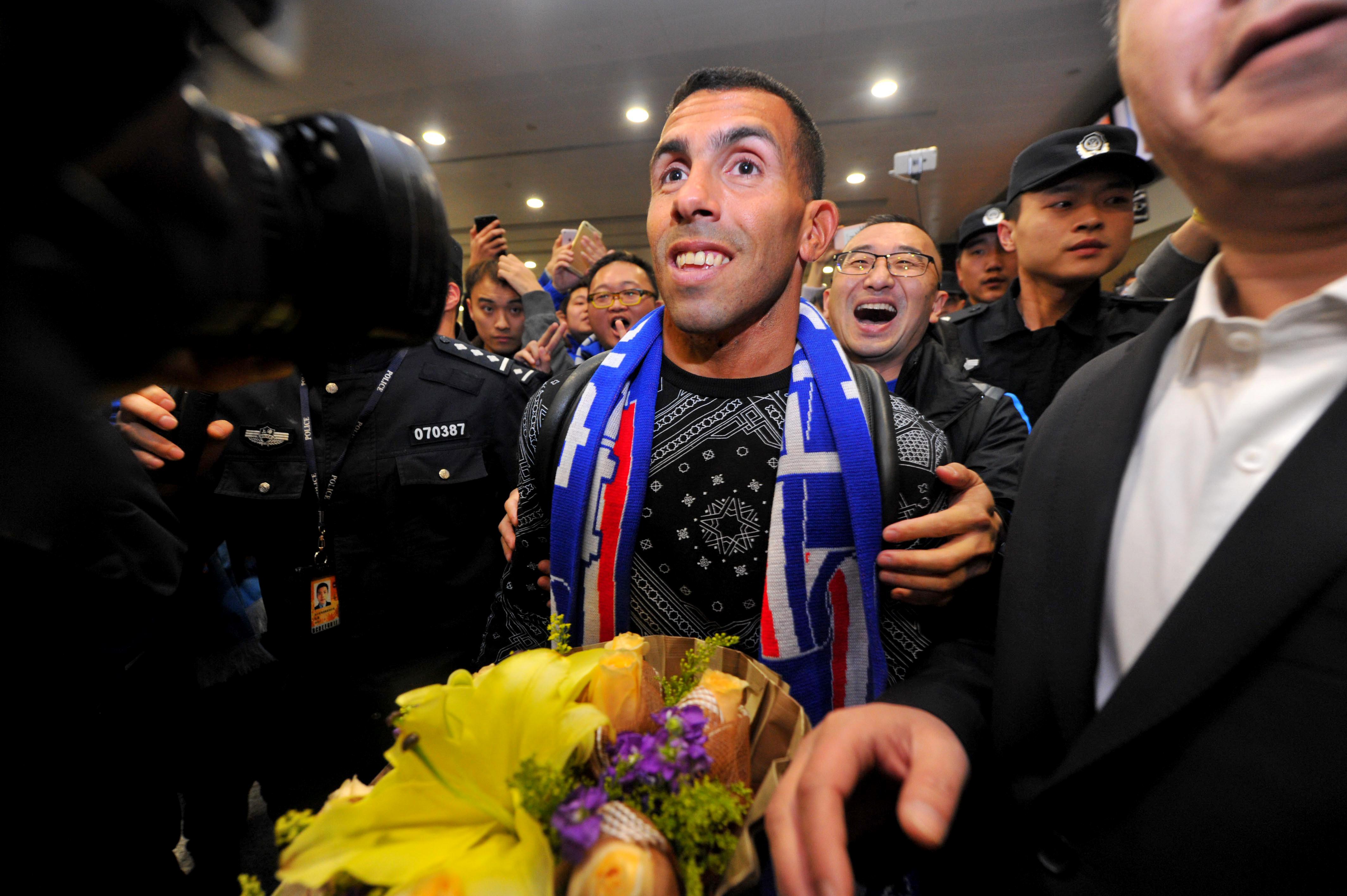 Carlos Tevez arrived China