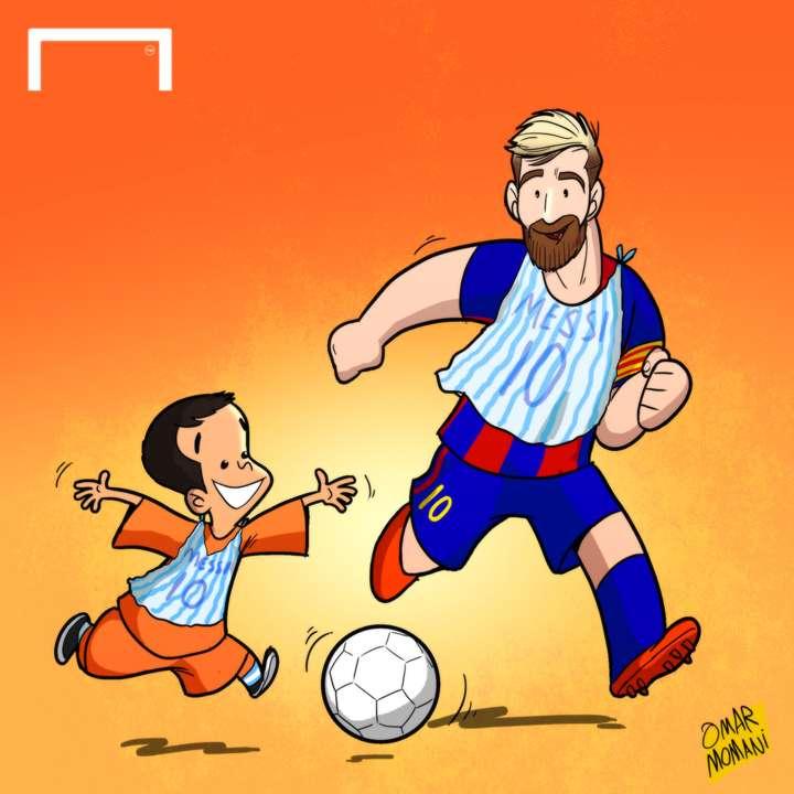 Messi and Murtaza Cartoon