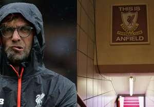 <p><strong>JURGEN KLOPP - 'This is Anfield' tabelasına dokunmak</strong></p> <p>Jurgen Klopp, Liverpool'da bir geleneği bitirdi ve Alman teknik adam Anfield koridorlarındaki meşhur 'This is Anfield' yazılı tabelaya dokunmayı yasakl...