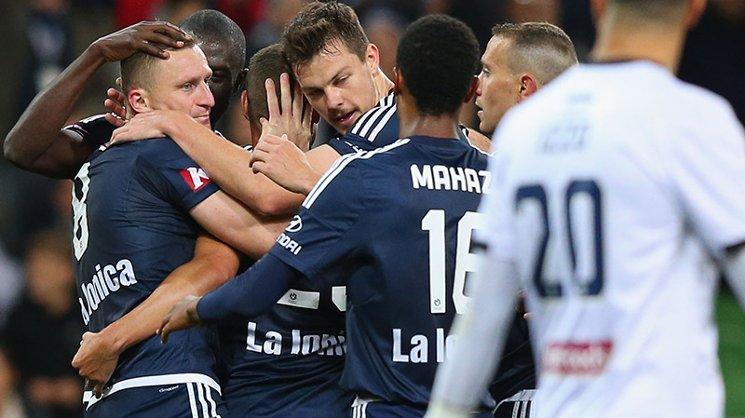Besart Berisha celebrates after scoring his 100th Hyundai A-League goal.