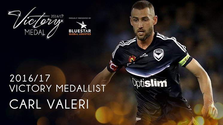 Melbourne Victory captain Carl Valeri has taken home the 2016/17 Victory Medal