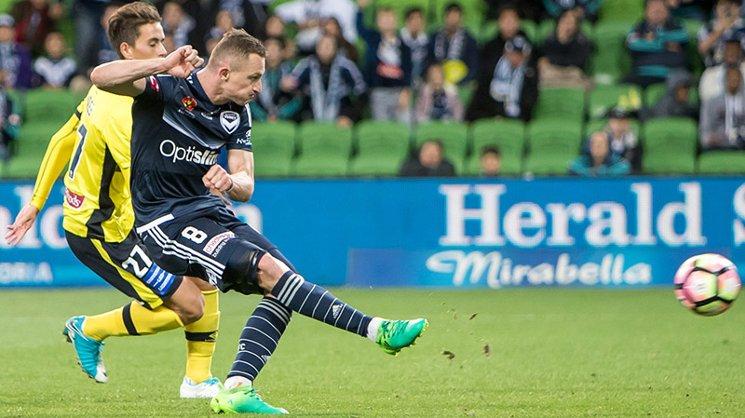 Besart Berisha scores his 100th Hyundai A-League goal.