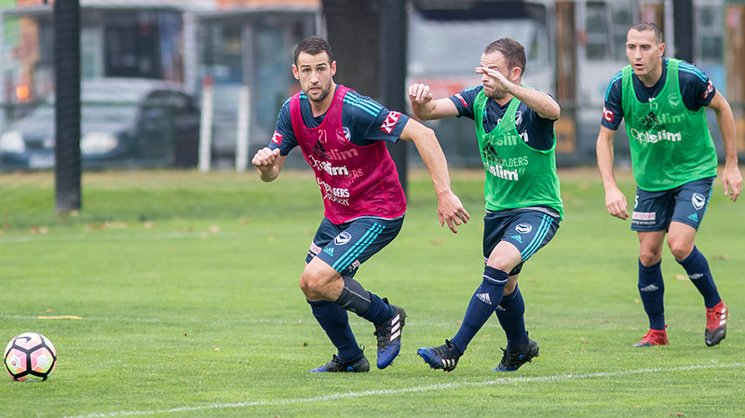 Melbourne Victory captain Carl Valeri in training on Tuesday.