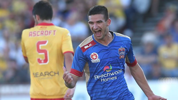 Steven Ugarkovic celebrates scoring against the Mariners during the 2015/16 season.