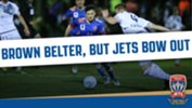 Wayne Brown scored a stunning goal on his competitive Newcastle Jets debut