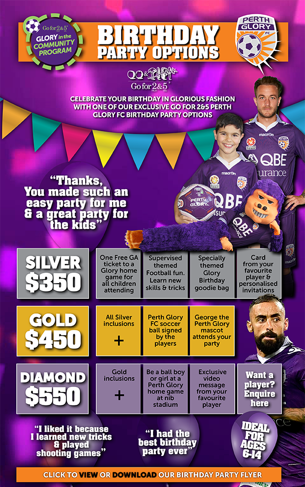 go for 2 5 perth glory birthday parties perth glory fc