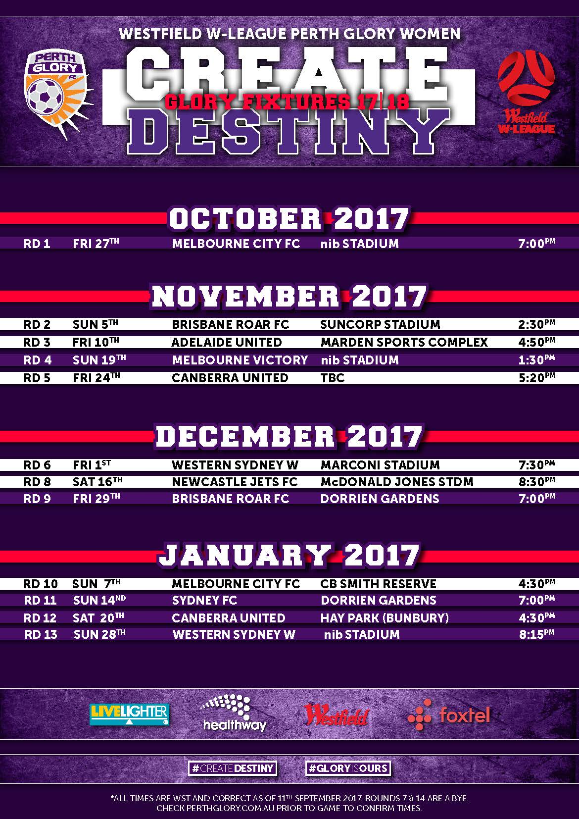 Perth Glory W-League Fixtures