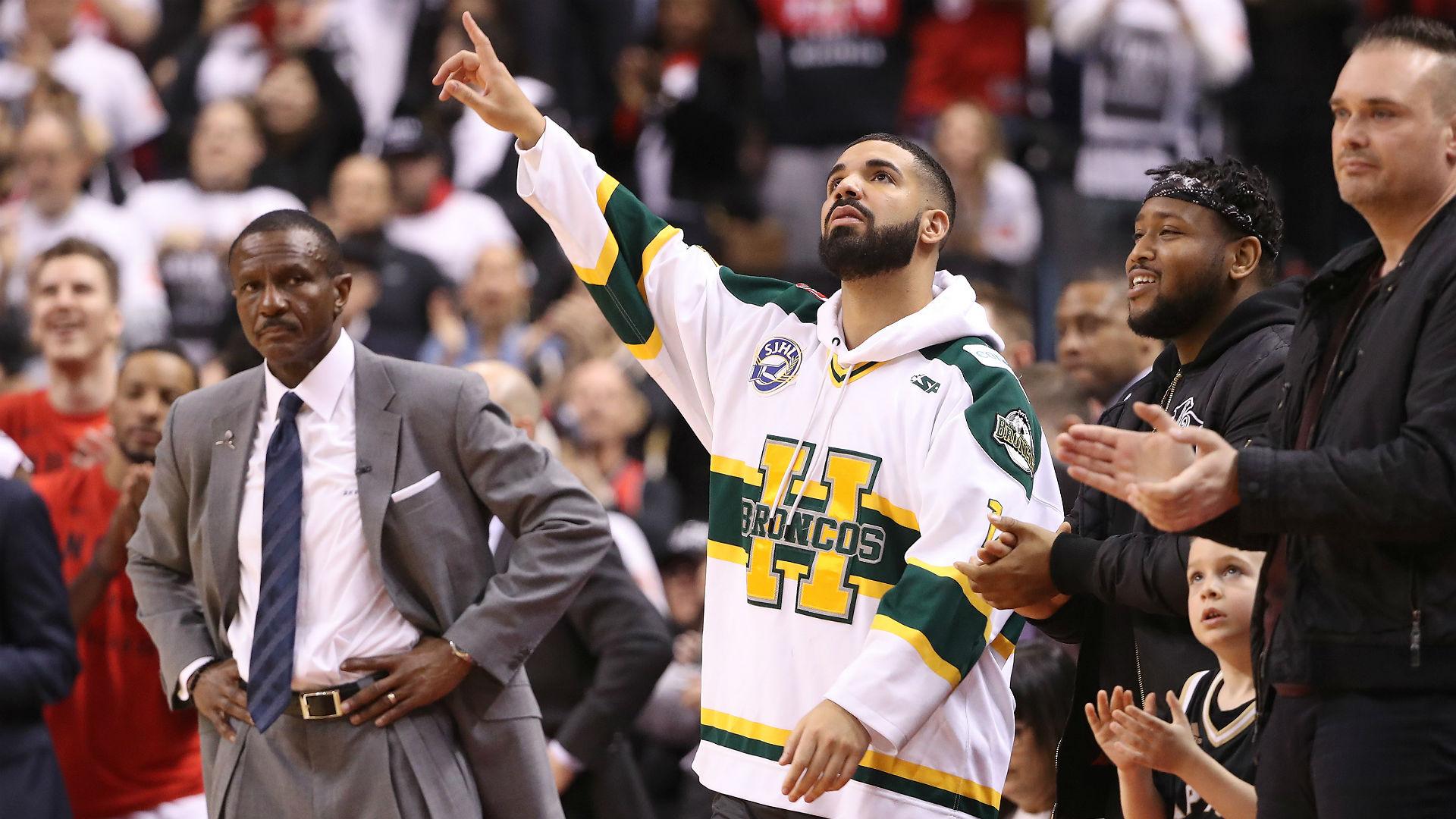 Drake Wears Humboldt Hockey Jersey To Raptors Game 1 Nba