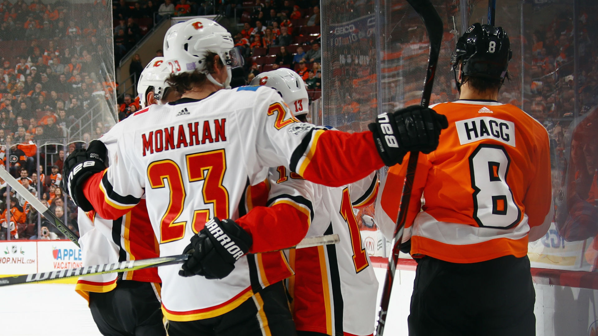 Monahan's 1st hat trick fuels Flames