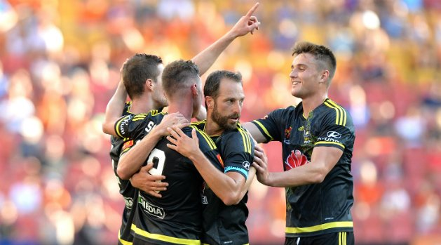 Phoenix players celebrate Smeltz's first goal from open play since returning to the club.