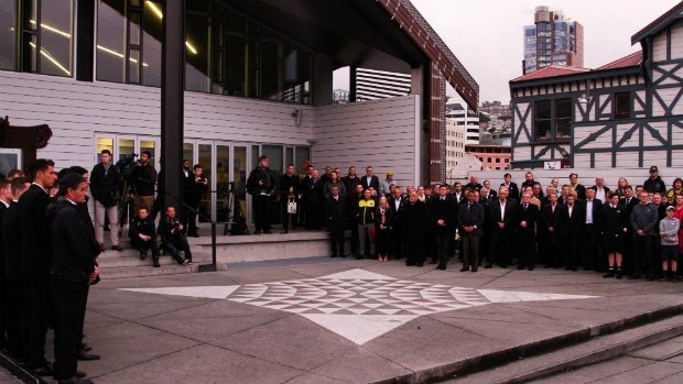 Dignitaries, fans and the Wellington Phoenix staff and team gather at the Wharewaka on the Wellington waterfront.