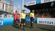 Players walk out for the Plate final between Wellington Phoenix and Bayer Leverkusen.