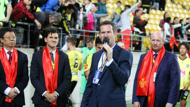 Wellington Phoenix General Manager David Dome addresses dignitaries after Wellington Phoenix's Huawei Capital Cup clash with Beijing BG.