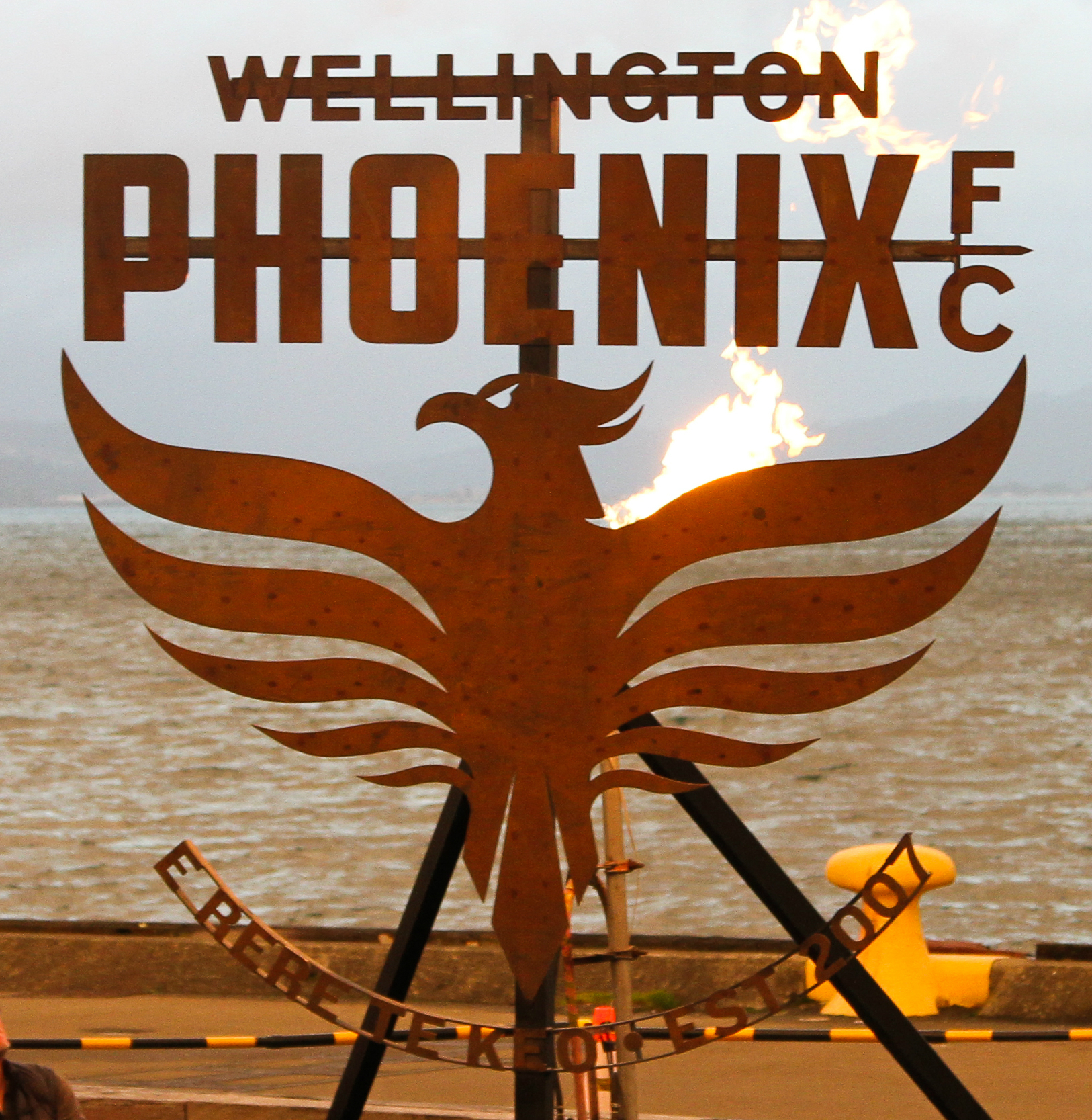 Wellington Phoenix's new tohu or logo, as unveiled on the Wellington harbour.