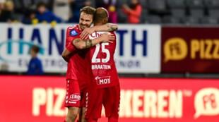 Bodø/Glimt - Brann 1-3: Vadim Demidov og Daniel Braaten jubler etter seieren