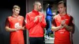Steffen Lie Skålevik, Azar Karadas og Fredrik Haugen på draktlansering med Nike på Torshov Sport