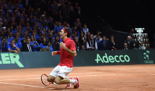 Shot of the Day: Switzerland wins the Davis Cup as Roger Federer hits a beautiful drop shot in the final