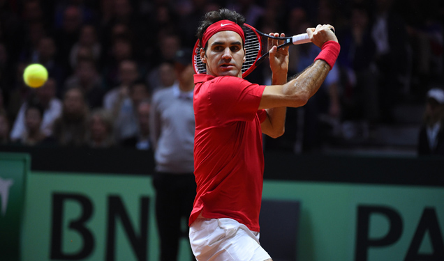 Shot of the Day: Roger Federer puts away a backhand volley at the net in the doubles rubber