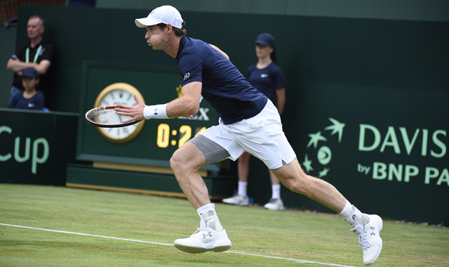 Andy Murray hits a sublime winner down the line against Jo-Wilfried Tsonga (FRA)