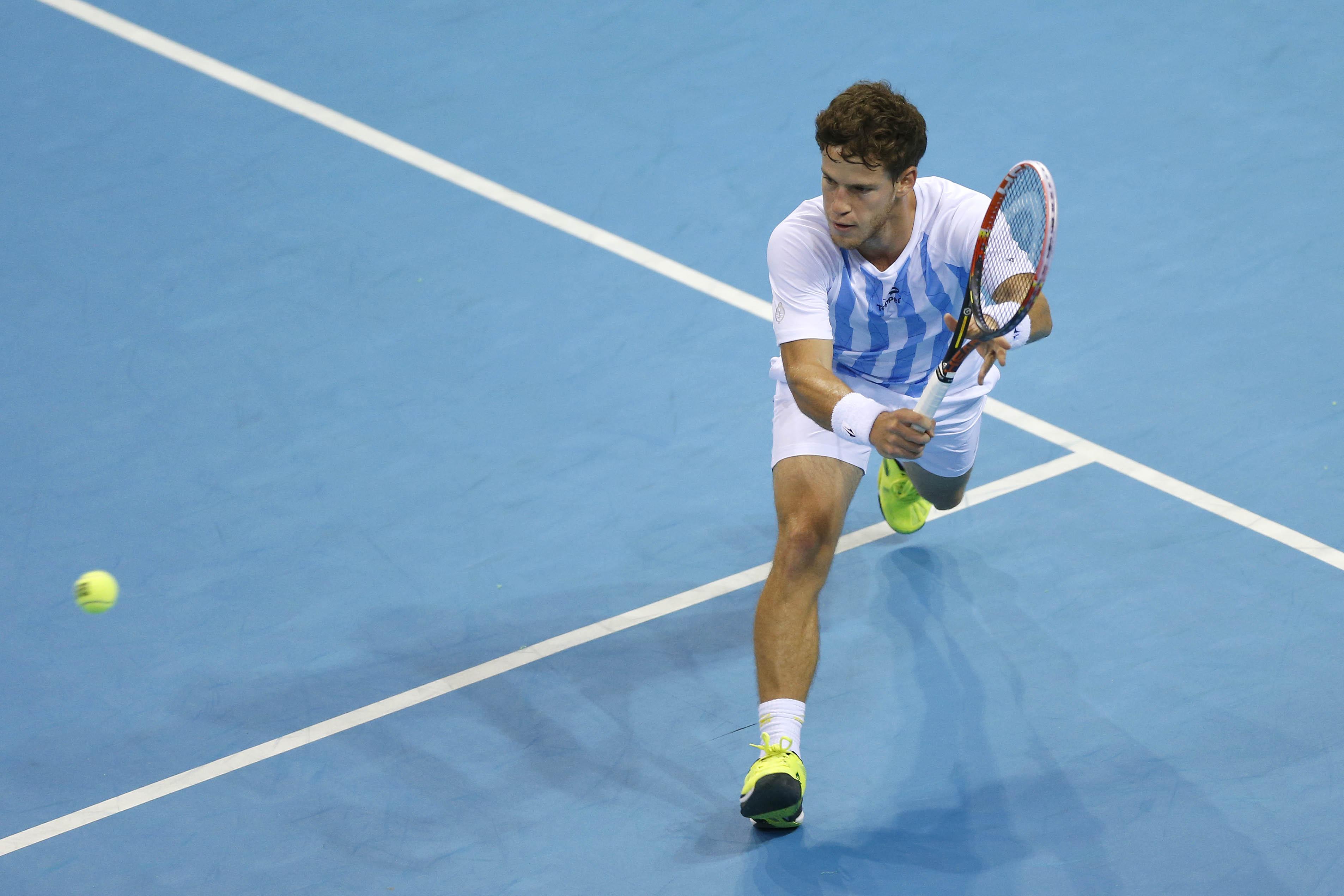 Argentina's Diego Schwartzman hits a wonderful winner down the line