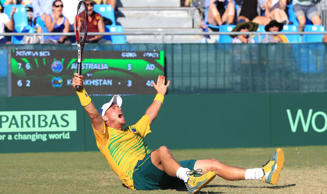 Lleyton Hewitt shows a great touch at the net in the fifth rubber against Kazakhstan