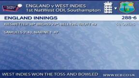 1st NatWest Series ODI – The Ageas Bowl - West Indies innings