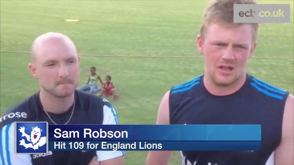 Sam Robson and Adam Lyth hit hundreds for England Lions