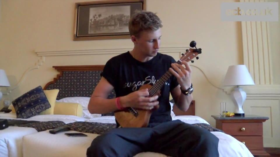 England cricketer Joe Root plays Arctic Monkeys on the ukulele